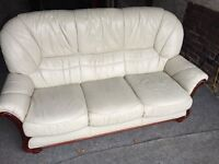 CREAM LEATHER 3 SEATER SOFA,CAN DELIVER