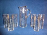 Genuine vintage etched glass Art Deco jug with six matching glasses, c1940s