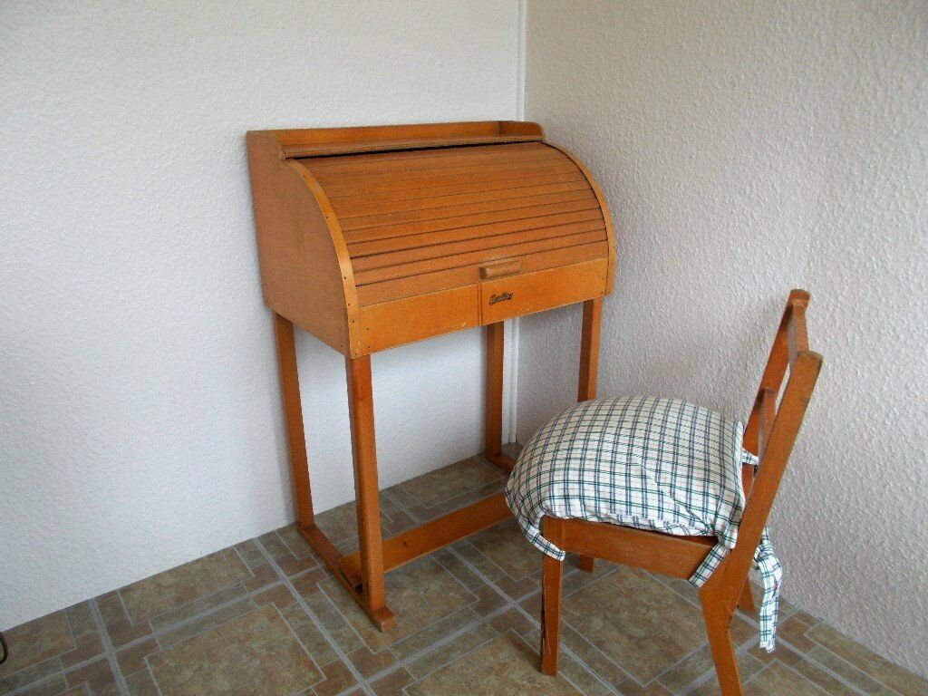 Childs Vintage Roll Top Desk And Chair
