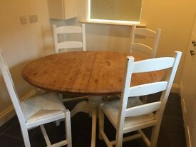 Shabby chic extendable dining table and chairs