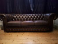 Deep Oxblood Thomas Lloyd Leather Chesterfield Three Seater Sofa Settee