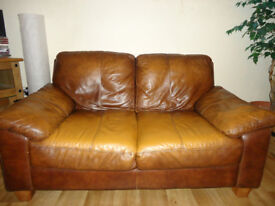 3 + 2 SOFA LEATHER BROWN DFS IN IMMACULATE CONDITION