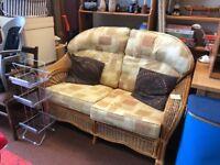 2 seater wicker sofa