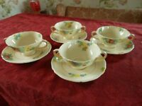 Royal Doulton Minden Vintage china cups/ soup bowls & saucers, Flora design