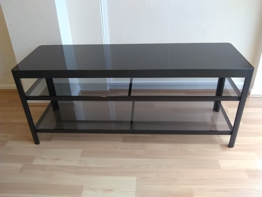 Ikea gettorp black glass tv bench unit table in excellent used