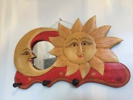 Wooden sun and moon hanger