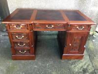Large hand carved mahogany desk
