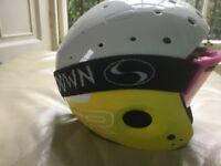 Solomon ski helmet, Sundown visor, salopettes and ski gloves - all from TISO