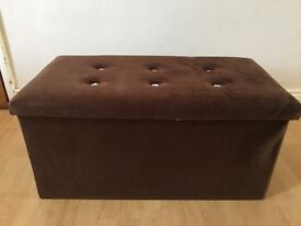 Large Velvet with Diamonte Buttons Ottoman Pouffe Storage Box Footstool Toy Box in Brown