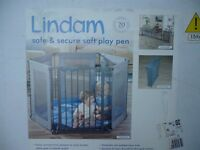 Lindam safe and secure soft play pen with washable soft padded base area. Folds away easily.