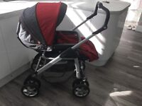 Silver Cross Linear Freeway Pram and Pushchair Red and grey