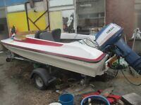 speed boat with trailer and engine running consider px for camper or motorbike