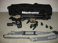 Manfrotto 055C Professional Tripod+2 Heads+Spikes+Carry Strap+Carry Bag