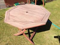 Octagonal wooden picnic table (large) - folds flat for easy storage