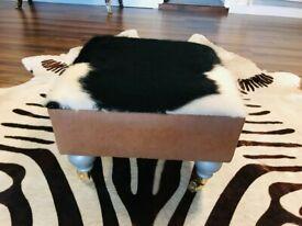 NEW GENUINE COWHIDE COW SKIN FOOT STOOL