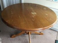 Round Pine Dining Room Table - In Need of Attention