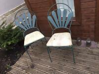 Four metal garden chairs