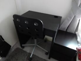 Ikea meikle desk and a wooden seat chair