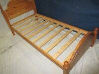 Single bed frame, SOLID PINE 'Honey' colour, takes a 3' mattress, little used, very good condition