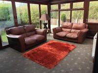 2 X 2 Seater Brown Leather Sofas Good Condition