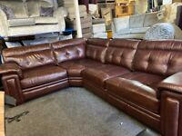 NEW EX DISPLAY ScS FERGIE BROWN LEATHER LARGE CORNER GROUP SOFA - LEFT/RIGHT HAND CORNER 70% Off RRP