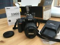 Nikon D3400 DSLR Camera with 18-55mm Lens. PRISTINE CONDITION, BARELY USED.