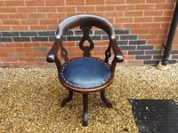 SOLID WALNUT VICTORIAN SWIVEL DESK CAPTAINS CHAIR CLUB SMOKER DELIVERY AVAILABLE