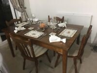 Solid wood country design dining table & chairs set