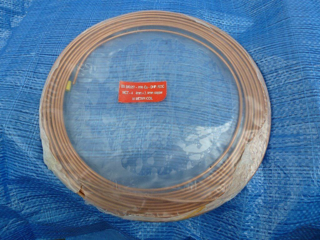 Copper Pipe/Tube MCT - 4 4mm x 2.8 mm x 10 Meter Coil * * UNUSED ...