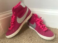 Women's Size 5 - Pink & Silver Glitter Nike Blazers High Top Trainers