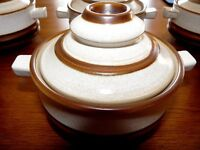 "Denby ""Potters Wheel"" Soup bowls with covers"