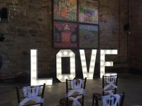 Giant LED LOVE Light Up Letters, Candy Cart, Post Box Hire