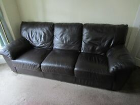 FREE-Used 3 Seater Brown Leather Sofa Settee-from a smoke/pet free home