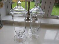 Glass Bonbon Jars x 2