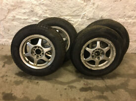 5 X 114.3 PCD and 5 X 100 PCD, 14 inch alloy wheels, came off mitsubishi FTO