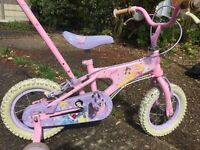 Girls beginner bicycle, removable training wheels and safety pole