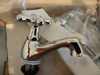 Chrome basin taps. Oxford. Perfect condition, only box is a bit worst for wear.