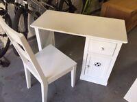 Bright White Children's Desk with Chair
