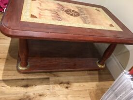 Solid Wood Coffee Table BEAUTIFUL DESIGN Family Friendly With lower Solid Compartment Dining Room