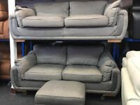 New / Ex Display DFS Hinkley 3 Seater + 3 Seater Sofas + Footstool