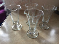 Set of 4, glass, tall style, ice cream sundae dishes.