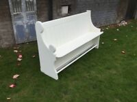 Stunning renovated 1905 Solid Oak Church Pew in ivory/cream