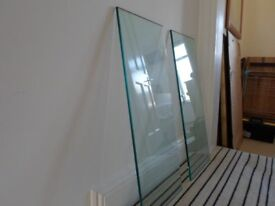 Two Toughened Glass Shelves 76.5cm wide x 32 cm deep 10mm thick with six chrome brackets