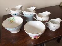 Job Lot of Vintage Mismatch Milk Jugs x4 & Sugar Bowls x2 Blue Pink Floral