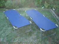 2 X Heavy Duty Folding Outdoor Camping Guest Light Bed OR SUNLOUNGER
