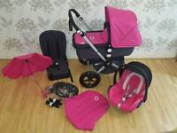 BUGABOO CAMELEON PINK WITH CAR SEAT, ADAPTORS, PARASOL