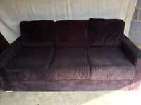 Comfy 3-seater sofa bed in brown velour with built in double mattress. Excellent condition.