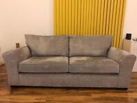 NEXT Large 3-Seater Sofa (Michigan) - Elegant Velour Mid Silver
