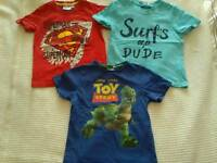 Boy's T-shirts, age 3 Superman T-shirt, bundle, s&pfh, vg condition, Surf's up and toy story