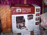 Outdoor Camping Cooker 2 burners and oven complete with gas bottle